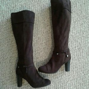 Shoes - Dark Brown velour Boots , Size 9W